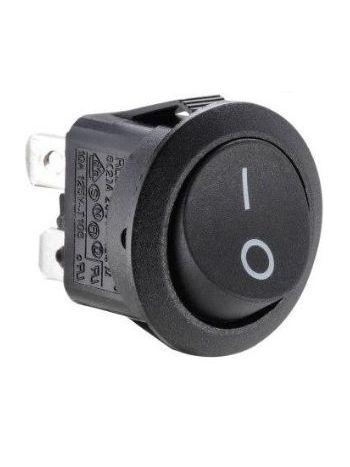 250v Round Double Pole Rocker Switch On/Off Black