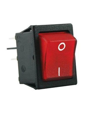 250v Double Pole Rocker On/Off Illuminated Red