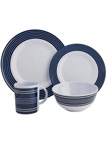 Navy Pin Stripe 16pc Dinner Set