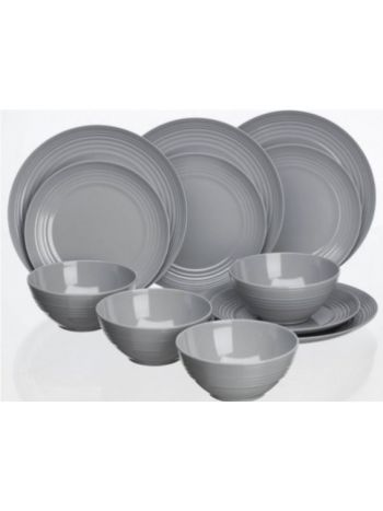 Cool Grey 12pc Dinner Set