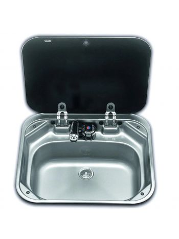 Smev 8005 Stainless Steel Sink with Lids and Mixer Tap